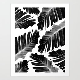 Tropical Black Banana Leaves Dream #1 #decor #art #society6 Art Print