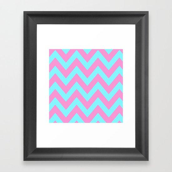 PINK & TEAL CHEVRON  Framed Art Print