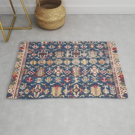 Royal Blue Western Star 19th Century Authentic Colorful Dusty Blue Yellow Vintage Patterns Rug