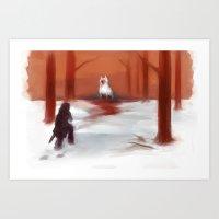 jon contino Art Prints featuring Jon & Ghost by Katie O'Meara