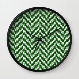 Realistic knitted herringbone pattern green Wall Clock