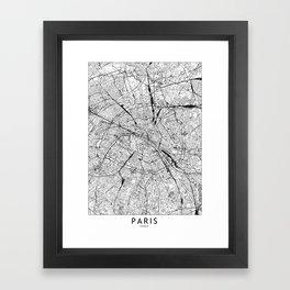Paris White Map Framed Art Print