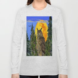 OWL WITH FULL MOON & TREES NATURE BLUE DESIGN Long Sleeve T-shirt