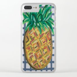 Tropical Hawaiian Pineapple Abstract Painting Clear iPhone Case