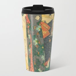 Spring Outing In A Villa Diptych #2 by Toyohara Kunichika Travel Mug