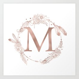 Letter M Rose Gold Pink Initial Monogram Art Print