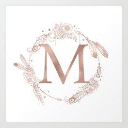 Letter M Rose Gold Pink Initial Monogram Kunstdrucke