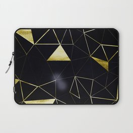 Gold Triangle Geometric Pattern on Black Suede Laptop Sleeve