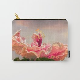isolated hibiscus in bloom on tecture background Carry-All Pouch