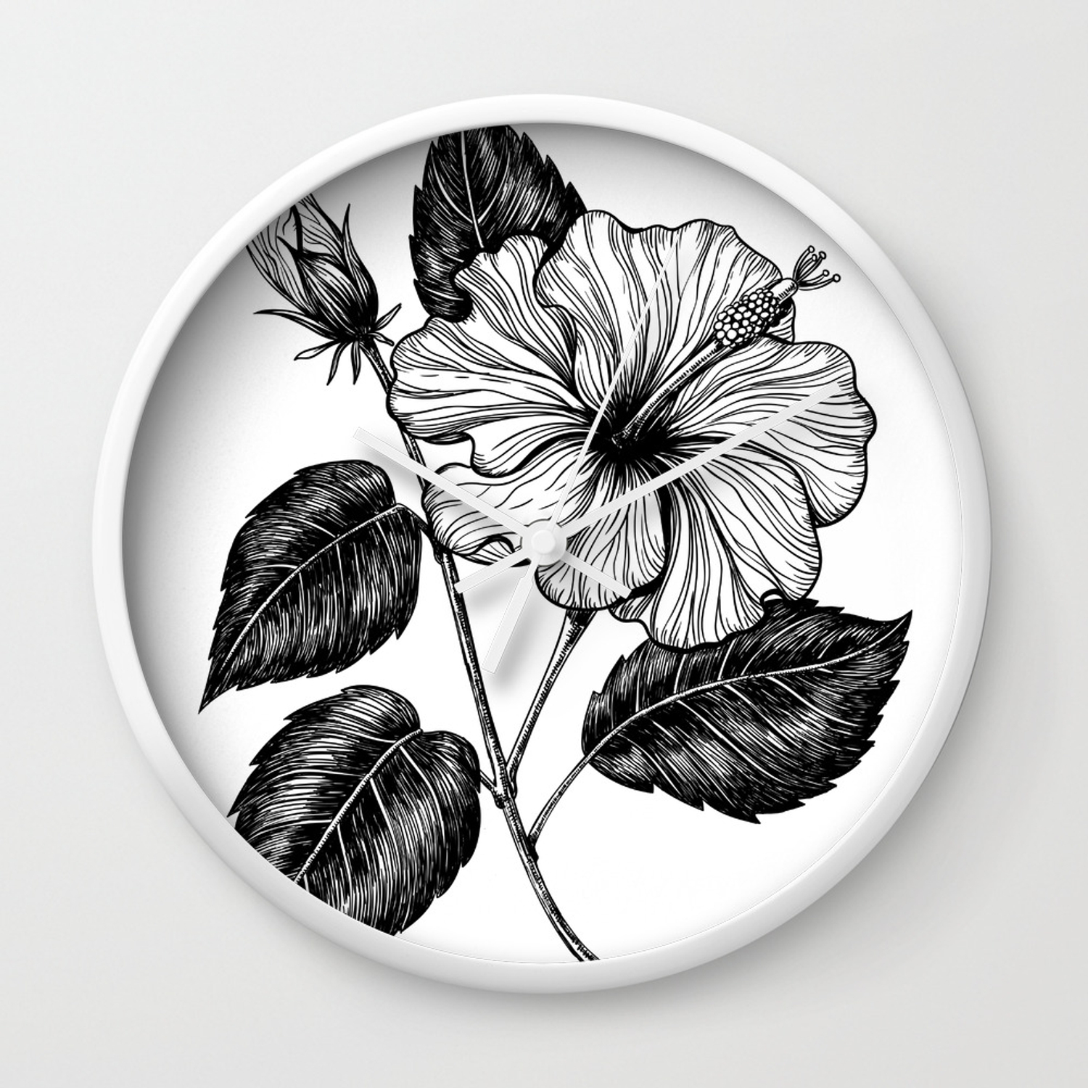 Hibiscus Flower Ii Wall Clock By Katerinamitkova Society6