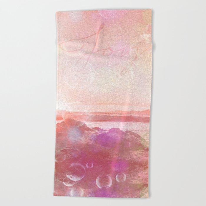 Joy at the sea bubbles sunst ocean typography art Beach Towel
