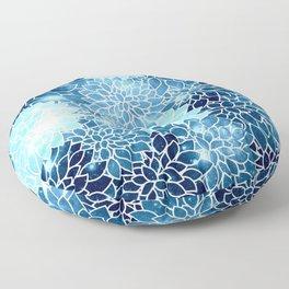 Space Dahlias Blue Ice Floor Pillow