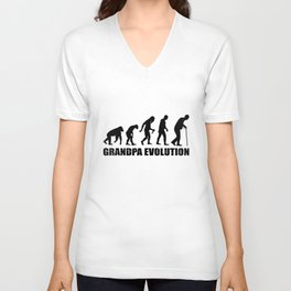 Grandpa Evolution Funny Family T-Shirt Unisex V-Neck