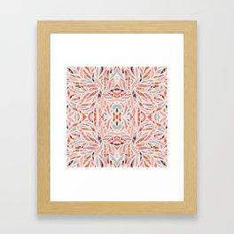 Boho Tile Abstraction / Coral and Blue Framed Art Print