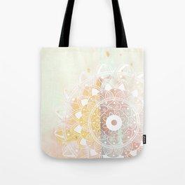 Delicate white mandala on pink Tote Bag