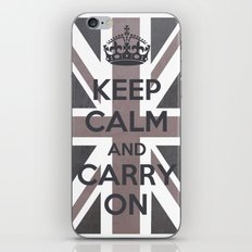 Keep Calm and Carry On UK - Purple/Grey iPhone & iPod Skin
