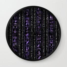 Amethyst and Silver Egyptian hieroglyphics pattern Wall Clock