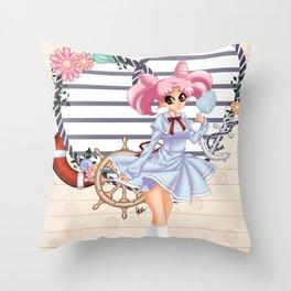 Nautical ChibiUsa Throw Pillow
