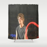 louis tomlinson Shower Curtains featuring Louis Tomlinson by Halle