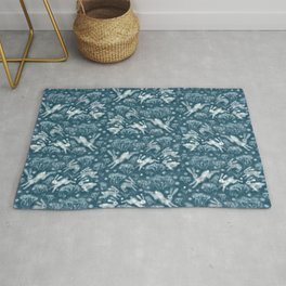 Hares in Snow Field, Winter Animals Rabbits Pattern Wool Texture Teal Rug