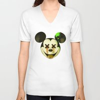 mickey V-neck T-shirts featuring Mickey by wrong planet