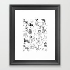 Dog Alphabet Illustration Print Framed Art Print