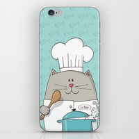 chef iPhone & iPod Skins featuring Chef cat, chef hat, ZWD009S6 by ZeeWillDraw