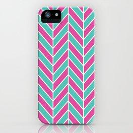 Pink and Teal Herringbone Pattern iPhone Case