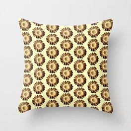 Brown Yellow Daisy Pattern,Retro Throw Pillow