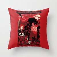 movie posters Throw Pillows featuring B-Movie by jublin