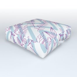 Hand painted pink baby blue botanical leaves chevron pattern Outdoor Floor Cushion