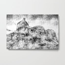 Edinburgh Castle Vintage Metal Print