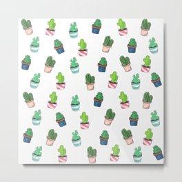 Cacti Abound Watercolor Graphic Print Metal Print