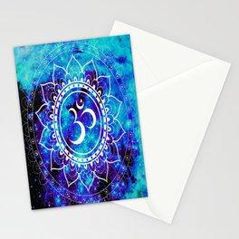Om Mandala : Bright Violet & Teal Stationery Cards