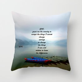 Serenity Prayer With Phewa Lake Panoramic View Throw Pillow