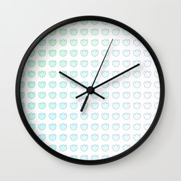 Blue Green Gradient Tulip Flower Ombre Grid Wall Clock