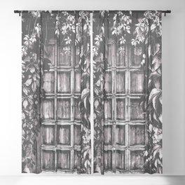 Black White Old Door Sheer Curtain