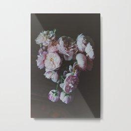 English Roses Still Life - Dark Number One Metal Print