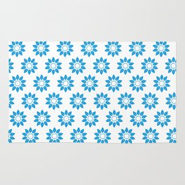 Ten Petal Flower Pattern (Blue & White) Rug