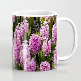 Garden with Orange Tulips and Pink Hyacinth Flowers in Amsterdam, Netherlands Coffee Mug