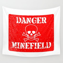 Danger Minefield Wall Tapestry