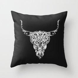 Head of a bull - White - Throw Pillow