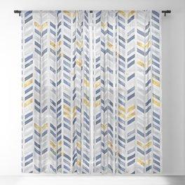Herringbone chevron pattern.Indigo faux gold acrylic canvas Sheer Curtain