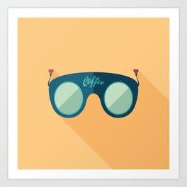 Blue Coffee Sunglasses Art Print