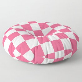 Checkered - White and Dark Pink Floor Pillow