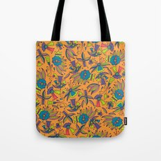 Abstract colorful hand drawn floral pattern design Tote Bag
