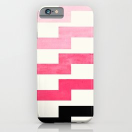 Pink Watercolor Painting Geometric Zig Zag Lightning Bolt Minimalist Mid Century Modern Art iPhone Case