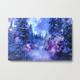 Mystical Snow Winter Forest Metal Print