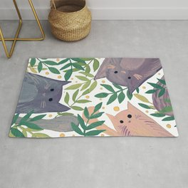 Cats and branches - grey and green Rug