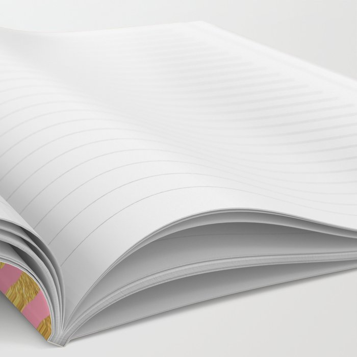 Chevron Herringbone pattern rosegold- gold metal glitter on pink watercolor Notebook
